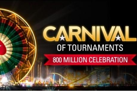 PokerStars slaví 800 milionů odehraných turnajů karnevalem