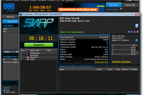 888poker объявил об официальном запуске Snap-покера