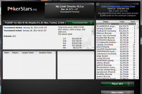 Macieq wygrywa Event #14 podczas Turbo Championship of Online Poker ($33,545.79)!