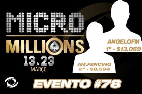 Duelo Luso no MicroMillions #78 - Ângelo Martins saiu Vencedor ($13,069)