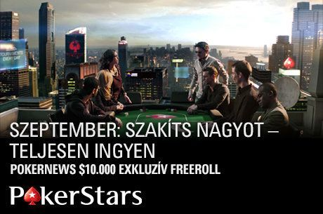 $10.000-os PokerStars Single Freeroll szeptemberben is, juss be már ma!