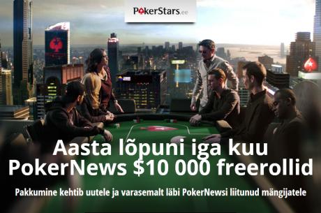 Aasta lõpuni PokerStarsis iga kuu PokerNews $10 000 freeroll