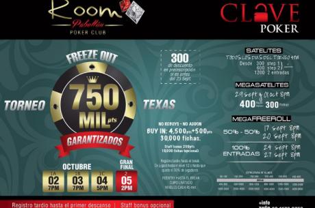 El 750K del Room  Poker Club en Guadalajara este 2 de Octubre