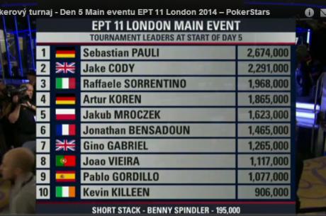Sledujte živý přenos 5. dne £4.250 Main eventu EPT11 Londýn v češtině