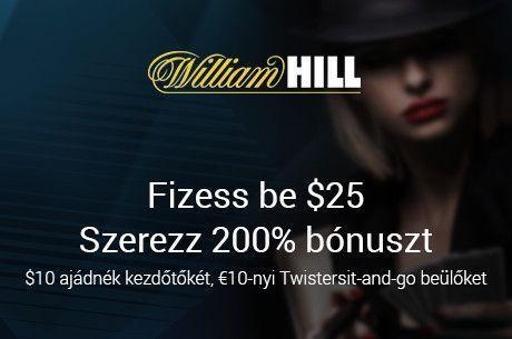 Próbáld ki a William Hill termét ajándék kezdőtőkével március végéig!