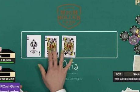 """""""High Roller"""" grynųjų pinigų žaidime ant stalo buvo atverstos dvi kryžių damos (VIDEO)"""