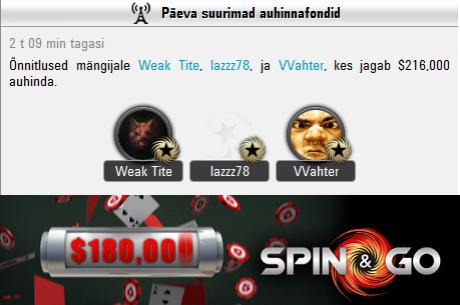 Tartlane Valev Vahter keerutas PokerStars Spin & Go turniiril välja maksimumi