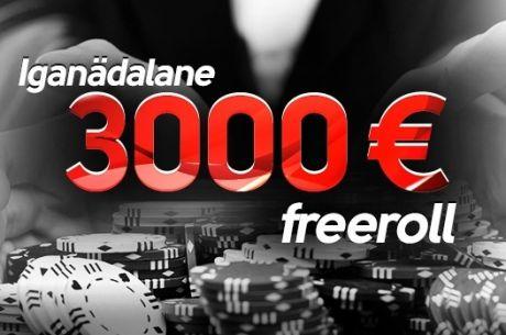 Microgamingu pokkerivõrgustikus iganädalane €3000 freeroll