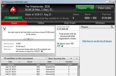 """PokerStarsis nüüd nädalavahetusel kahepäevane turniir """"The Weekender"""""""