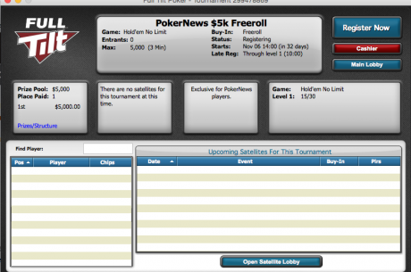 Full Tilt to Run a $5,000 Freeroll Only For PokerNews Players