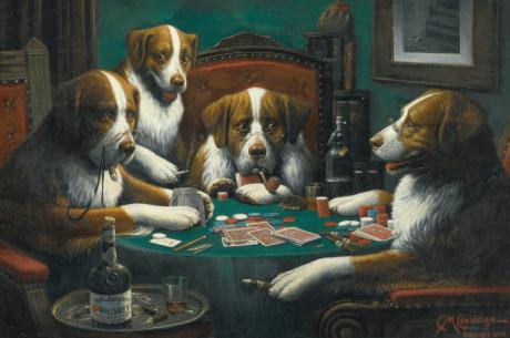 Известната картина с кучета играещи покер се...