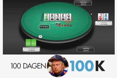 100 dagen $100k - Een pair omzetten in een bluf op een 4-flush board