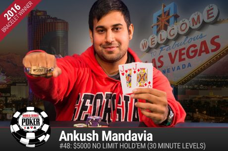 WSOP Event #48 - Ankush Mandavia wint $5k No-Limit Hold'em Turbo, Hellmuth achtste