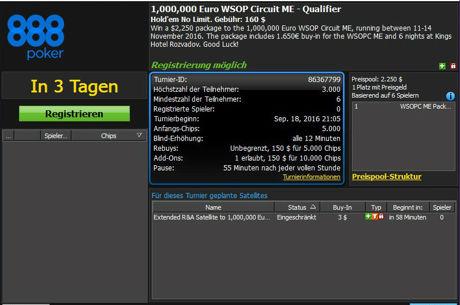 888poker eröffnet die Qualifikation für den WSOP Circuit im King's
