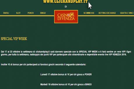 """Il Casinò Di Venezia On Line Organizza La """"Special Vip Week"""""""