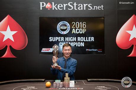 """Azijos Pokerio čempionatas: 500,000 Honkongo dolerių kainavusį """"ACOP Super High Roller""""..."""