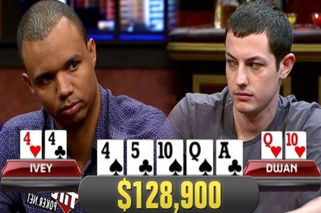 Phil Ivey Acerta Set no Flop Contra Tom Dwan Num Pote de $128,900