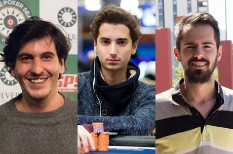 André Paulino, Diogo Veiga e Sérgio Veloso no dia 3 do PokerStars Festival Marbella