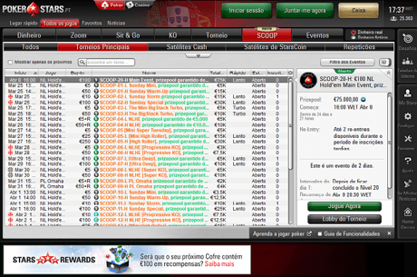 SCOOP na PokerStars.pt de 25 de março a 8 de Abril