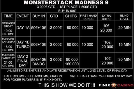 Έρχεται το Monsterstack Madness #9 με €60 buy-in και €3,000 gtd στο Finix...