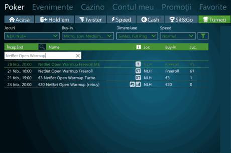Au inceput calificarile online pentru NetBet Open Warmup, cu 22 tichete de 230€ garantate