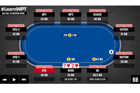 WPT GTO Trainer Hands of the Week: Big Blind Defense with Shallow Stacks