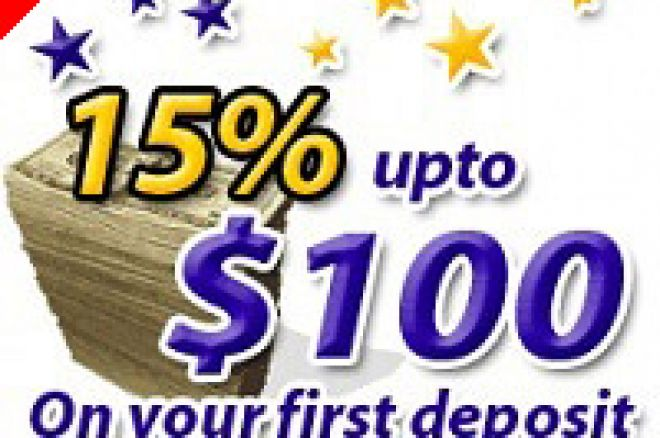 15% up to $100 on your first deposit! 0001