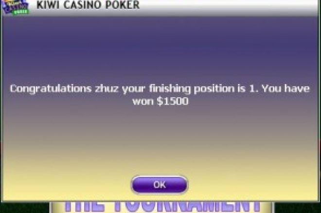 祝贺站长在kiwi poker的3000$锦标赛中勇夺第一 0001