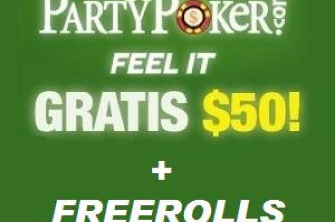 PartyPoker: HOY DOMINGO... ¡freeroll de 1.500$¡ y además 50$ GRATIS 0001