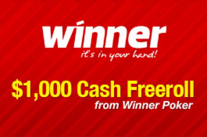 PokerNews $1,000 Cash Freerolls hos Winner Poker 8.juni 0001