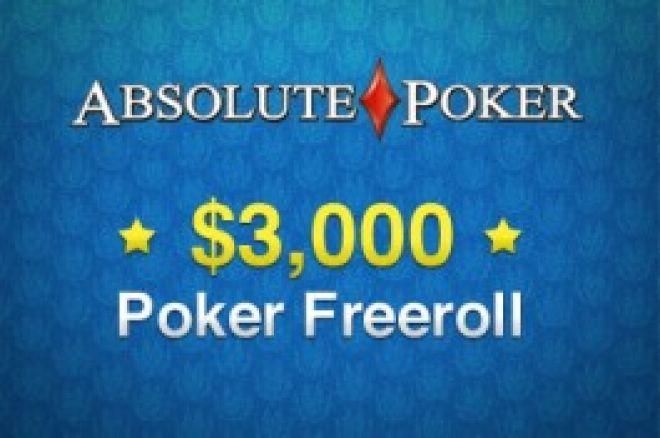 Eksklusiv $3,000  freeroll hos Absolute Poker 0001