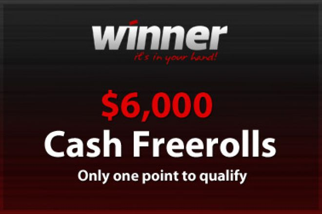PokerNews $6,000 Cash Freerolls hos Winner Poker i dag! 0001
