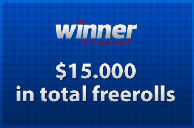 Kvalifiser nå til Winner Poker sine $15,000 freeroll turneringer 0001