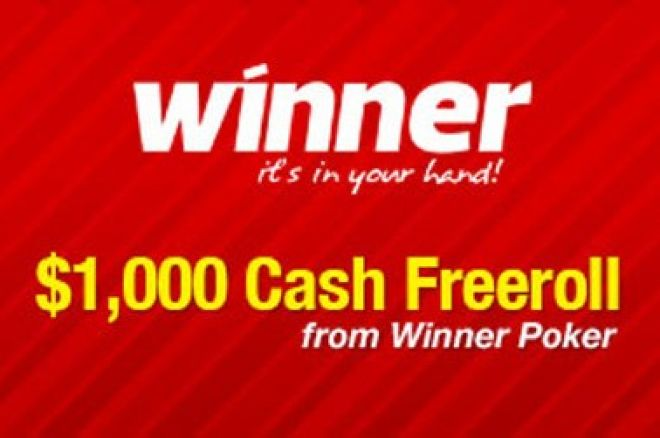 PokerNews $1,000 Cash Freerolls na Winner Poker 0001
