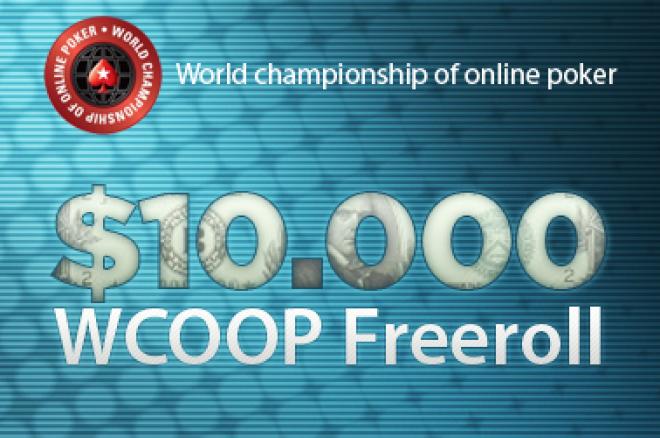 Husk kvalifiseringen til $10,000 WCOOP freeroll turnering hos PokerStars 0001