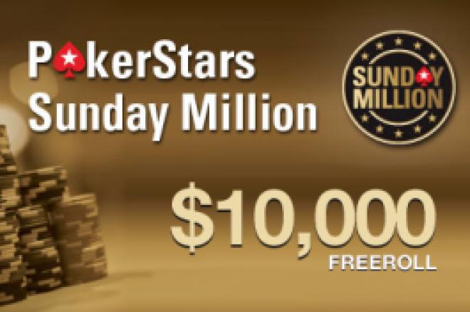 $10,000 Sunday Million freeroll hos PokerStars, nå med lettere kvalifiseringskrav! 0001