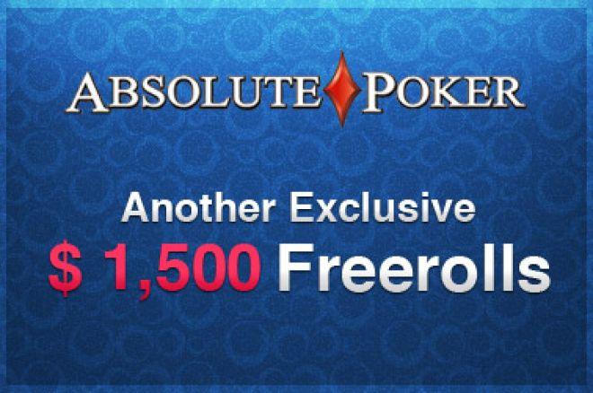 Na UB & Absolute Poker se vrací $1,500 Freerolly - Jediné co potřebujete je minimální vklad! 0001