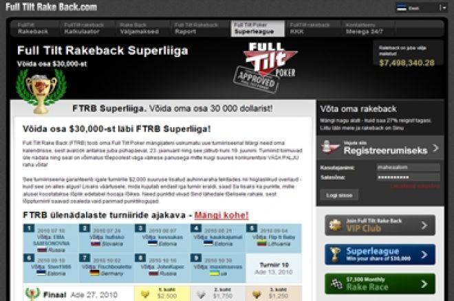Kindlusta pääse FullTiltRakeback Superliiga finaalturniirile: $500 added iga mängija... 0001