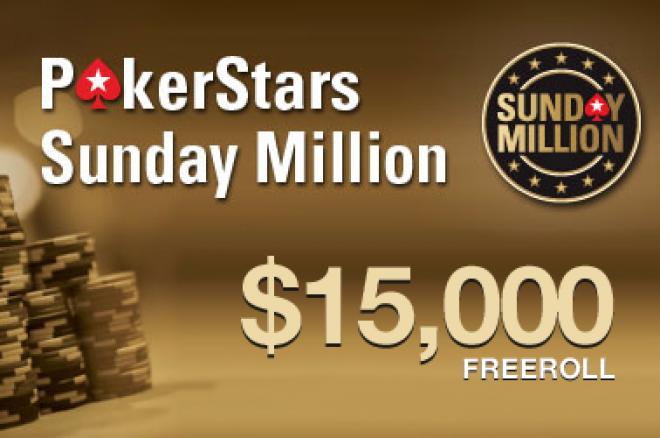 Nye Sunday Million freerolls - Premiepotten er på $15.000 - enklere kvalifiserings krav! 0001