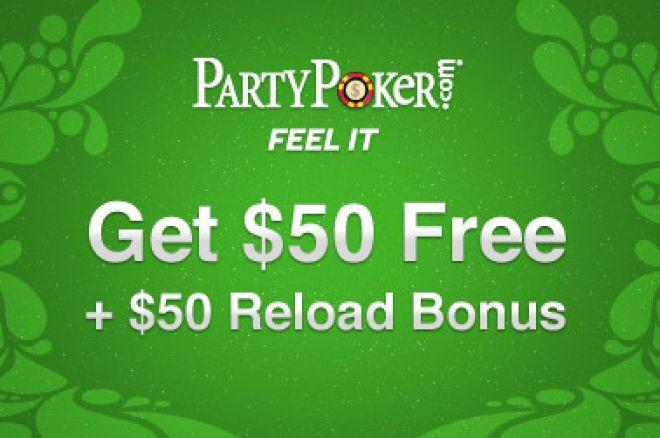 Få $50 gratis i bankrulle hos PartyPoker + $50 reload bonus