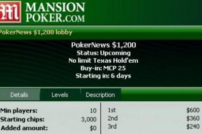 Mansion Poker $1,200 Freeroll začíná dnes ve 20:35 0001