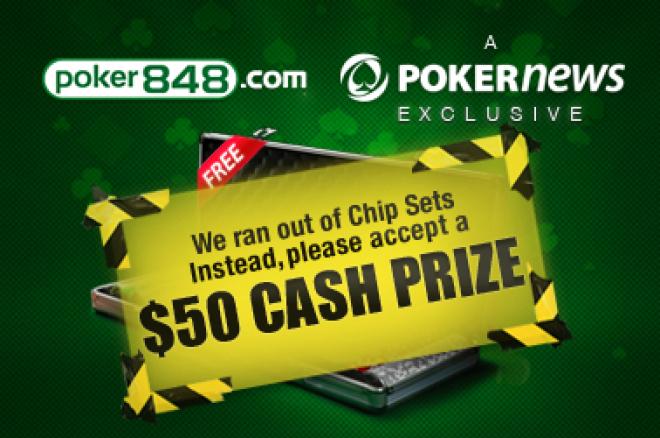 Poker848 nebeturi žetonų rinkinių, tačiau vietoje jų siūlo $50 0001