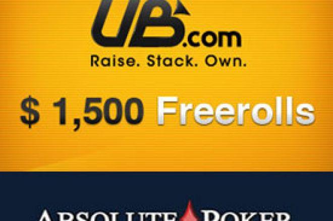 Poslednja šansa za kvalifikacije na UB & Absolute Poker $1.500 Freerolls - samo depozit za... 0001