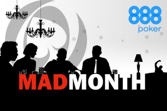 $40,000 freeroll turnīros, bonusos un balvās 888 Poker Mad Month ietvaros 0001