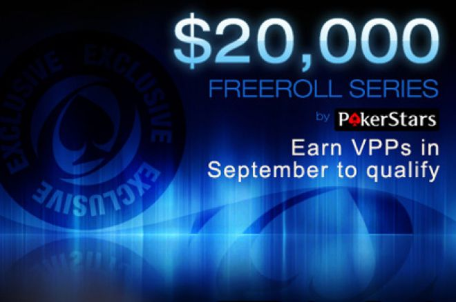 $20,000 i exklusiva freerolls hos PokerStars i september 0001