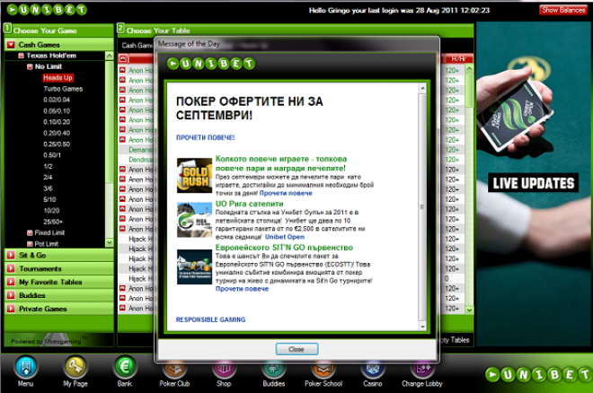 Unibet software