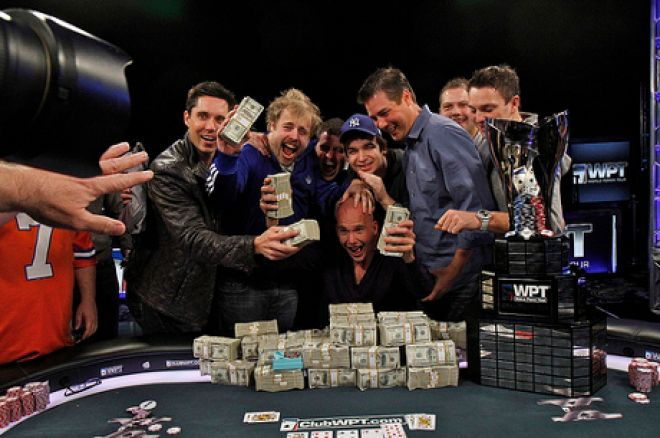 James Dempsey celebrates with friends (Photo: World Poker Tour)