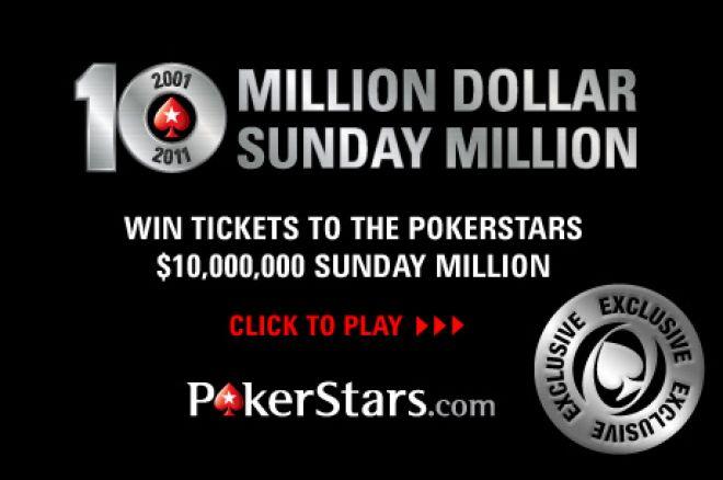 Šįvakar galite laimėti PokerStars 10-ojo jubiliejaus Sunday Million bilietą vos už... 0001