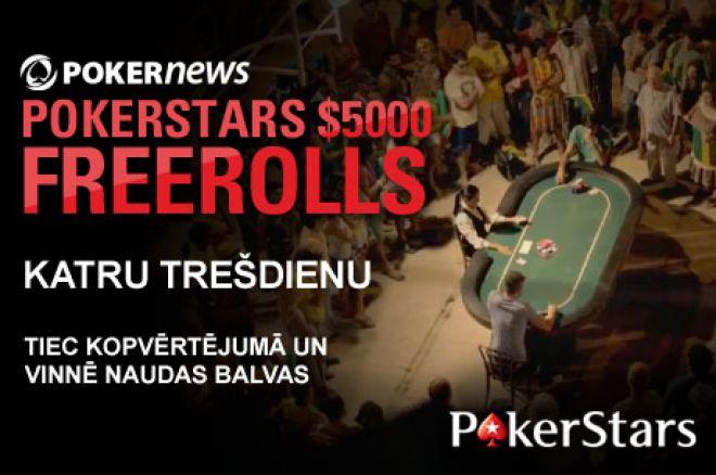 Sacenties $5,000 Weekly PokerNews Freeroll akcijā PokerStars istabā 0001