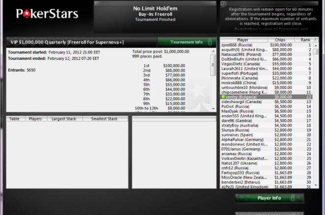 ventzy pokerstars freeroll
